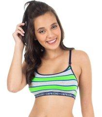 sutiã top listras verde capricho college - 520.801 capricho lingerie sutiã top multicolorido