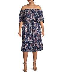 plus floral off-the-shoulder blouson dress