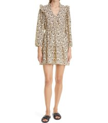 ba & sh grazie floral long sleeve a-line dress, size small in beige at nordstrom