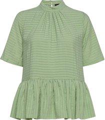 tolu, 855 striped rayon blouses short-sleeved grön stine goya