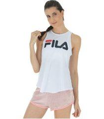 camiseta regata fila mesh - feminina - branco