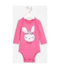 body infantil estampa coelha puff com glitter - tam 0 a 18 meses   teddy boom (0 a 18 meses)   rosa   3-6m