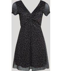 vestido de tule feminino curto estampado animal print onça manga curta marrom