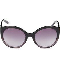 women's 57mm swarovski crystal cat eye sunglasses - grey