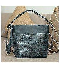 leather shoulder bag, 'castellan' (mexico)