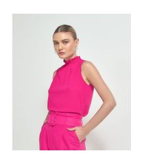 blusa regata lisa gola altinha com elástico | cortelle | rosa | pp