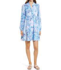 women's lilly pulitzer winona long sleeve print dress, size x-large - blue