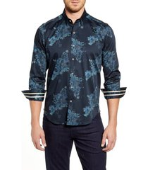 men's robert graham thomas regular fit floral button-up sport shirt, size xx-large - blue