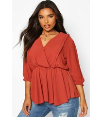 plus ruffle detail wrap peplum blouse, terracotta