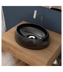 cuba de apoio para banheiro compace capri ov39w oval preta
