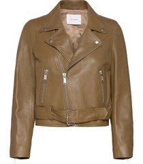 biker jacket leren jack leren jas groen ivy & oak