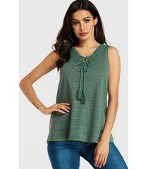 yoins green crochet lace embellished v-neck top
