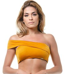 top tritu㪠biquãni tomara que caia alã§a transversal amarelo - amarelo - feminino - poliamida - dafiti