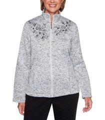 alfred dunner petite modern living embroidered melange knit jacket