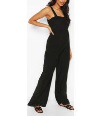 zwangerschaps geplooide wide leg jumpsuit, black
