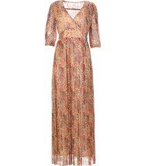 zijden maxi-jurk met lurex athena  rood