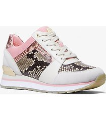 mk sneaker billie bicolore in pelle stampa pitone - combo naturale (naturale) - michael kors