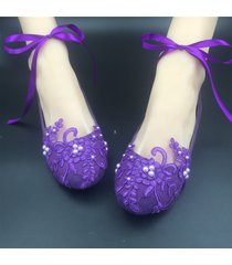 purple ribbon ankle tie strap wedding ballet flats vintage lace bridal shoes