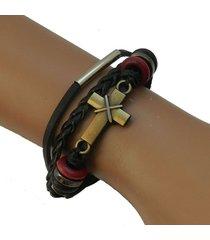 pulsera cuero cruz negra pu-11367