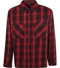 marcelo burlon double cargo pocket checked shirt