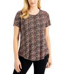 jm collection printed round-hem t-shirt, created for macy's