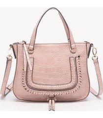 women's destin crossbody bag 2 vegan studded whipstich blush croco vegan leather from sole society