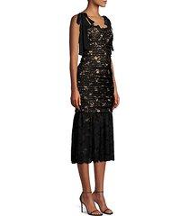 betty ruched lace sheath dress