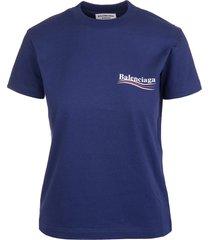 balenciaga woman blue political campaign slim fit t-shirt