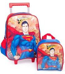 kit escolar infantil mochila de rodinhas + lancheira super homem