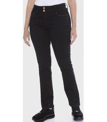 jeans dos botones aplicación bolsillo negro curvi