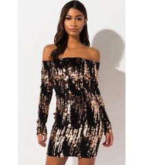 akira good and crazy off the shoulder sequin mini dress
