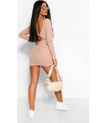 petite. geribde mini-jurk met gedraaide achterkant, zand