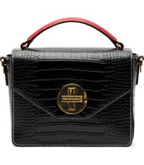 frances valentine small croc embossed leather satchel -