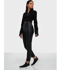 parisian pu split front zip trouser leggings