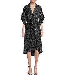 michael kors collection women's floral-print silk wrap-effect dress - slate - size 6