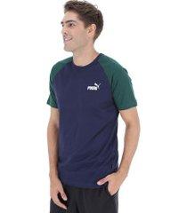 camiseta puma elevated ess raglan - masculina - azul escuro