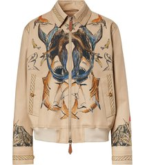 burberry marine sketch-print harrington jacket - neutrals