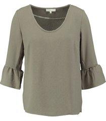signe nature structure tuniek blouse 3/4 mouw khaki army van stevig polyester stretch