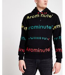 river island mens arcminute black logo printed hoodie