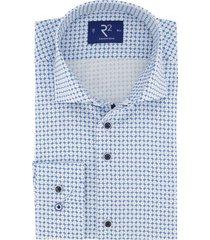 mouwlengte 7 shirt r2 blauw wit motief