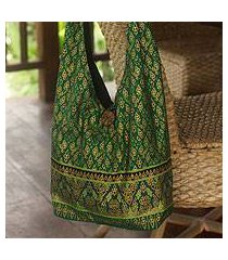 cotton sling tote bag, 'royal thai emerald' (thailand)