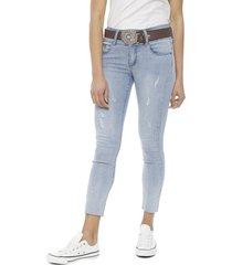jeans il gioco kendall cropped celeste - calce ajustado