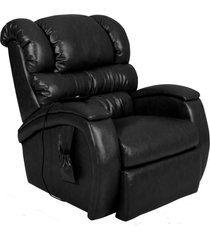 poltrona do papai reclinável elétrica com controle sala de estar oasis couro preto brilho - gran belo