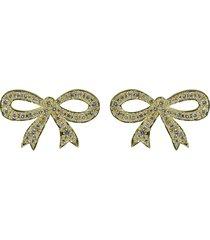 pave diamond bow stud earrings