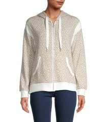 c & c california women's leopard-print hoodie - camo - size s