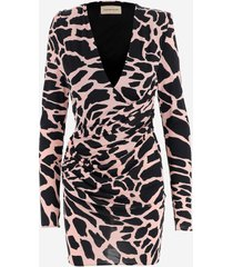 alexandre vauthier designer dresses & jumpsuits, animal printed viscose women's dress