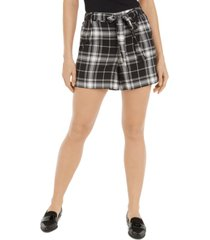 maison jules plaid tie-belt shorts, created for macy's