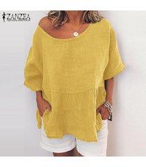 zanzea para mujer casual suelta de manga corta del cuello de o tops camisas túnica de la blusa pullover -amarillo