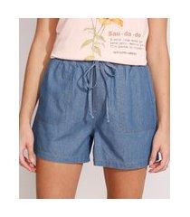 short clochard jeans cintura alta com cordão azul médio