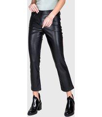 pantalón  ash pu negro - calce ajustado
